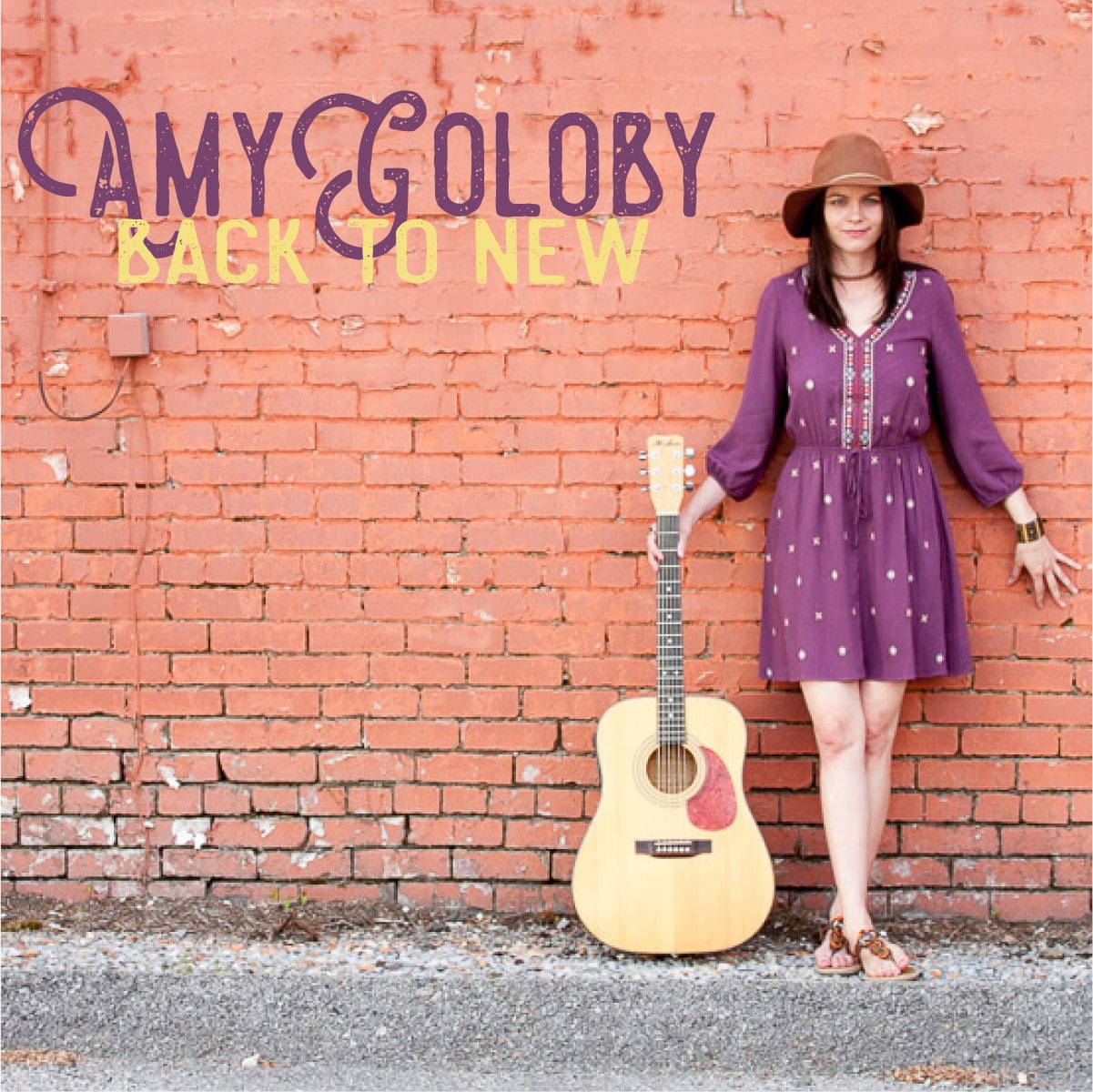 amy goloby back to new album cover pink brick purple dress