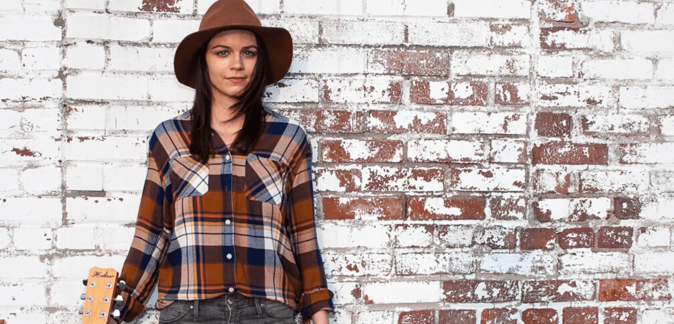 amy goloby back to new white brick plaid shirt and hat