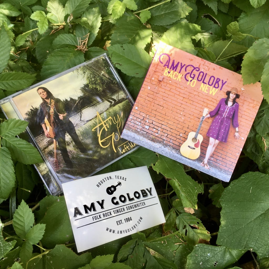 Amy Goloby Back to New and Left Unsaid CDs with sticker in nature